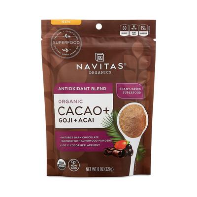 Navitas Organic Antioxidant Blend Cacao Goji + Acai Powder 8 oz