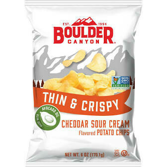 Boulder Canyon Thin And Crispy Avocado Oil  Cheddar Sour Cream Potato Chips