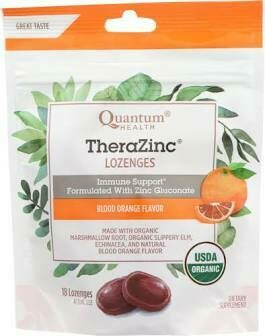 Quantum Health TheraZinc Lozenges Immunity Support With Zinc Gluconate Blood Orange Flavor 18 Lozenges