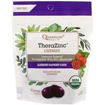 Quantum Health TheraZinc Lozenges Elderberry Raspberry 18 Lozenges