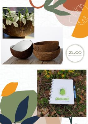 Комплект: Кокосова купичка ZUCO и Креатино Вечна Тетрадка - Идея, A5, 40 страници + маркер