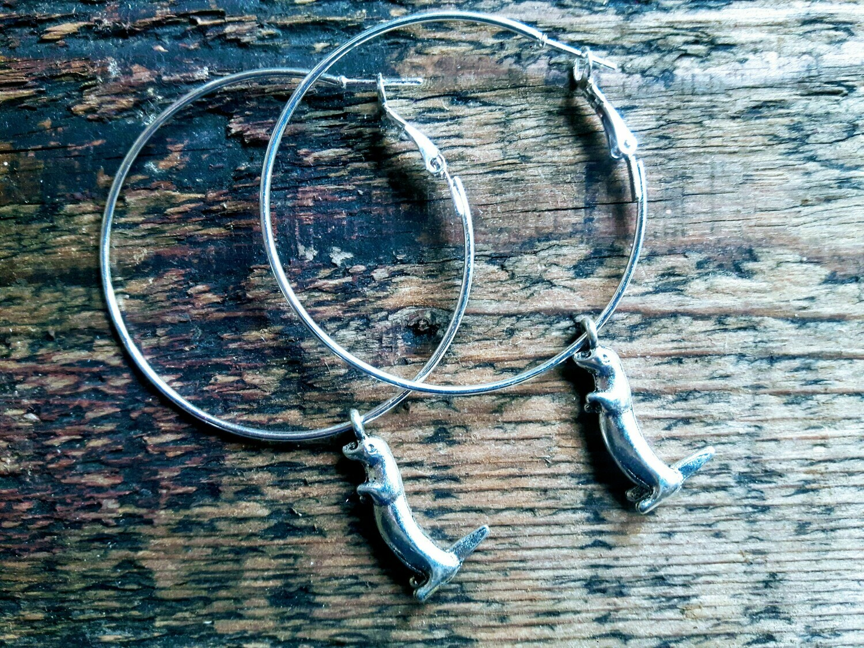 Otter hoop earrings