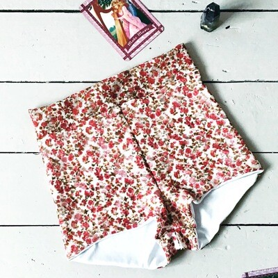 Ditsy Print Mesh High Waist Shorts