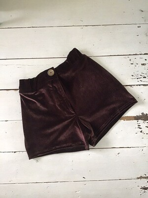 Velvet Shorts With Zipper Fly And Patch Pockets