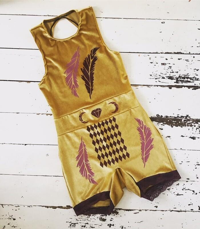 Feather Print Velvet Trapeze Suit