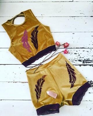 Feather Print Velvet Trapeze Costume