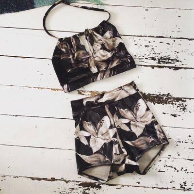 Tropical Print Black Velvet Bikini Halter Top Shorts