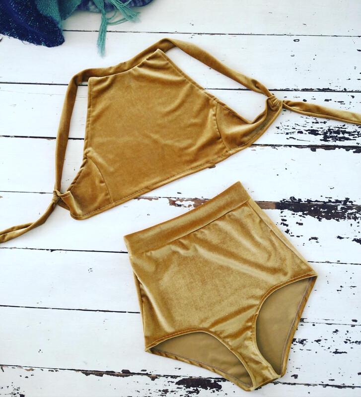 Mustard Velvet Bikini Co Ord