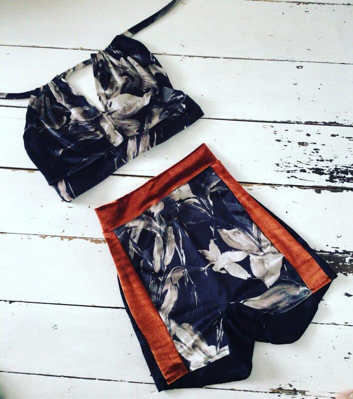 Floral Velvet Co Ord Bikini Set