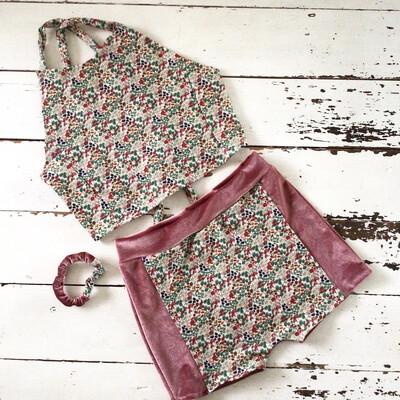 Mushroom Print Halter Top And Shorts Organic Set