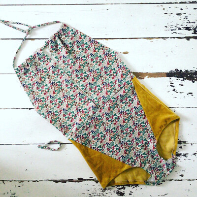 Organic Cotton Mushroom Print Halter Bodysuit
