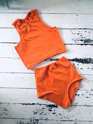 Organic Knit Orange Shorts And Top Set