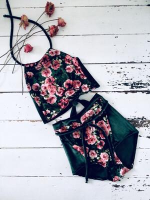 Velvet Rose Floral Shorts And Halter Top Set