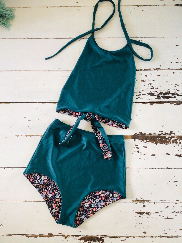 High Waist Bikini Halter Top