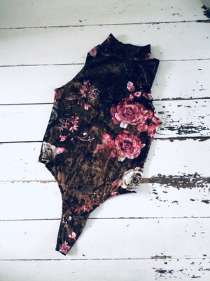 Floral Rose Velvet High Neck Bodysuit
