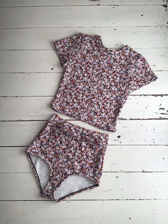 Ditsy Floral Lounge Set Panties Crop Top