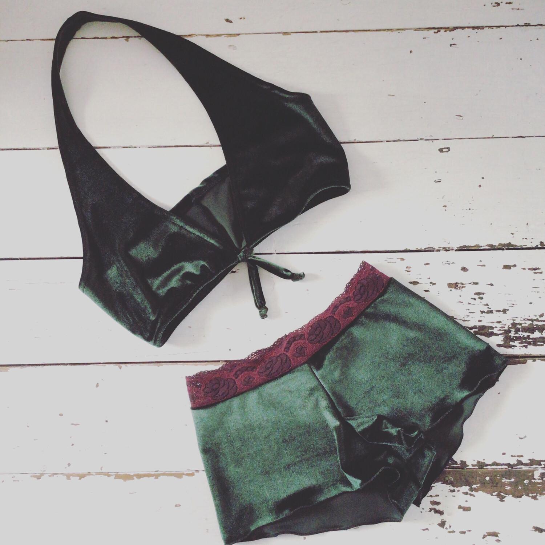 Velvet Bikini Bralette And Boy Short Set