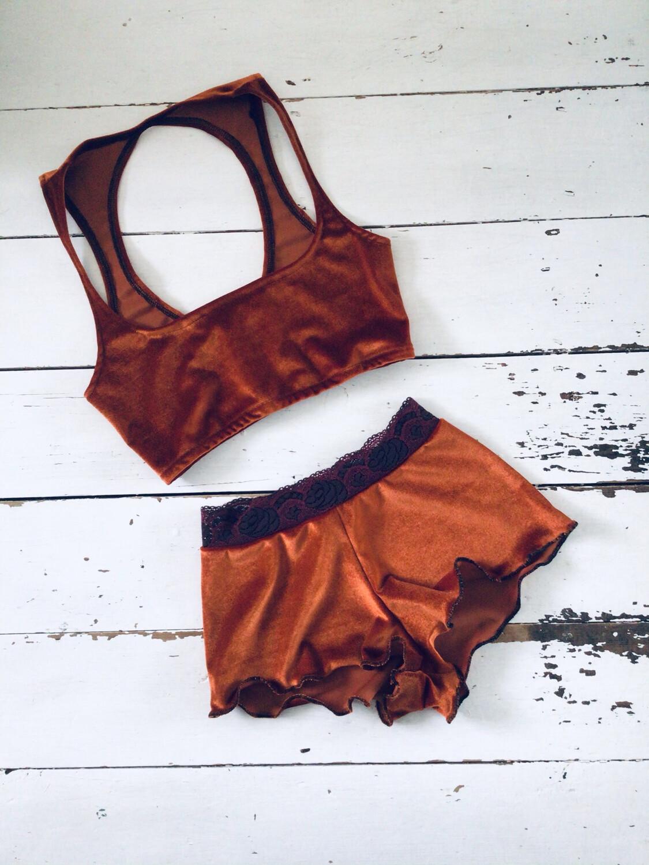 Velvet Co Ord Bikini Boy Short And Bralette Set