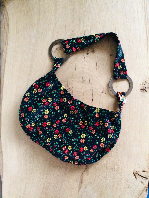Black Floral Velvet Half Moon Shoulder Bag