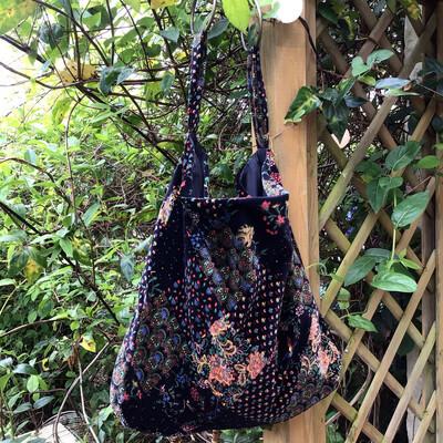 Vintage Velvet Large Shopper Slouchy Bag