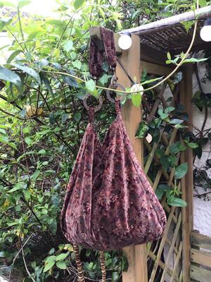 Vintage Velvet Boho Brown Floral Shoulder Bag