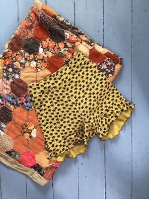 Organic Cotton Elephant Print Shorts With Ruffle