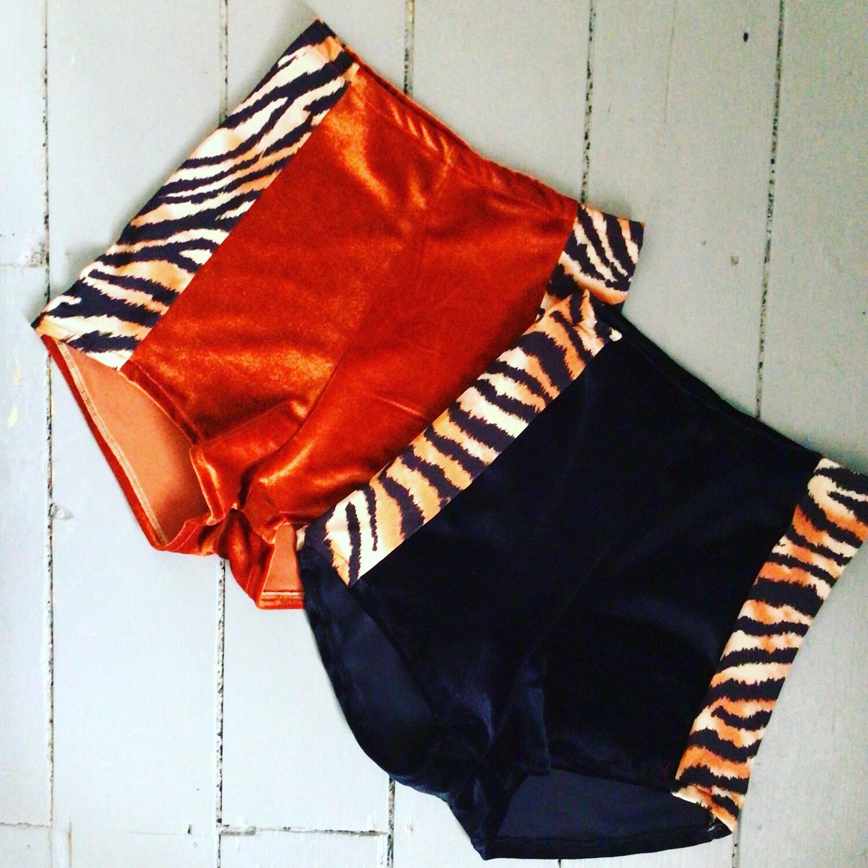 Tiger Print And Velvet High Waist Shorts