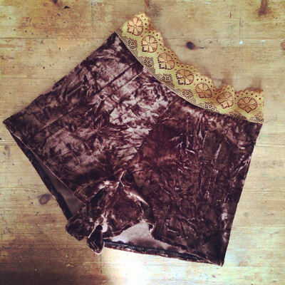 Brown Velvet And Lace Panty Shorts