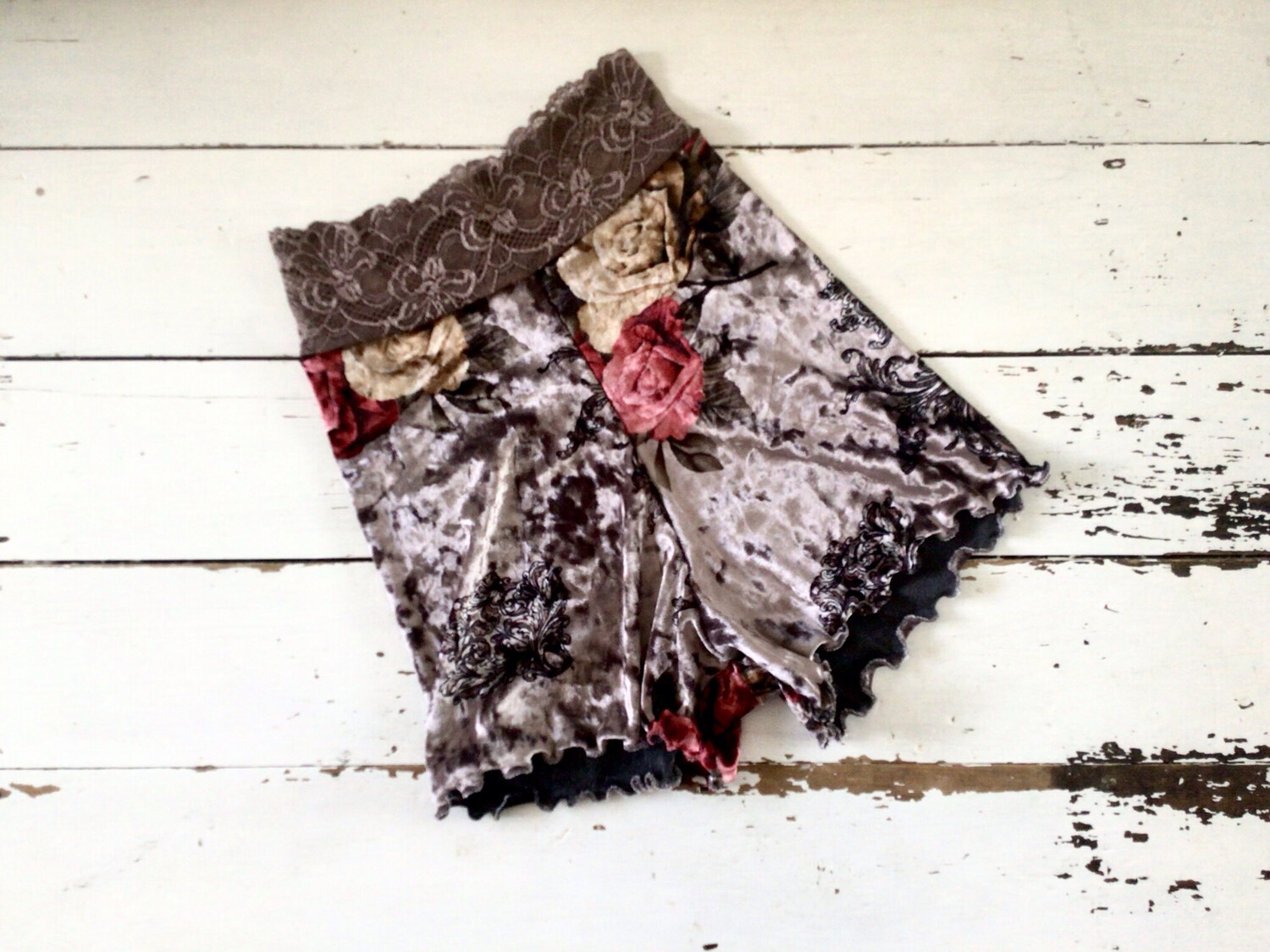 Lace And Velvet Rose Floral Shorts
