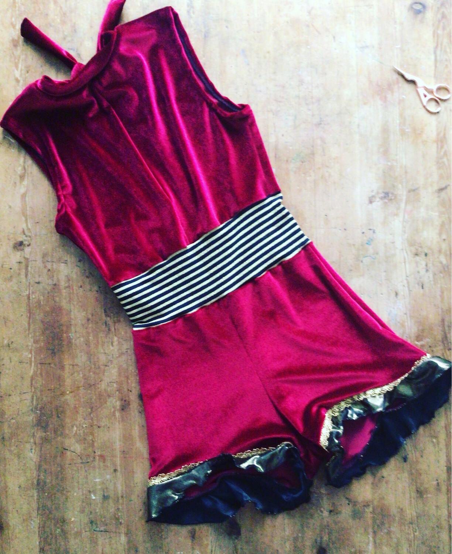 Vintage Circus Bodysuit Red Velvet And Stripe
