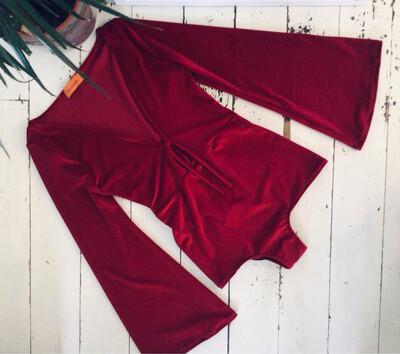 Velvet Deep V Bell Sleeve Bodysuit
