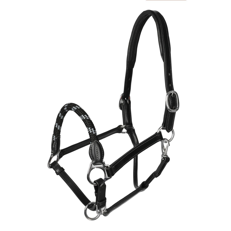 Lederhalfter mit ergonomischem Genickstück und Seil Nasenriemen - Acavallo