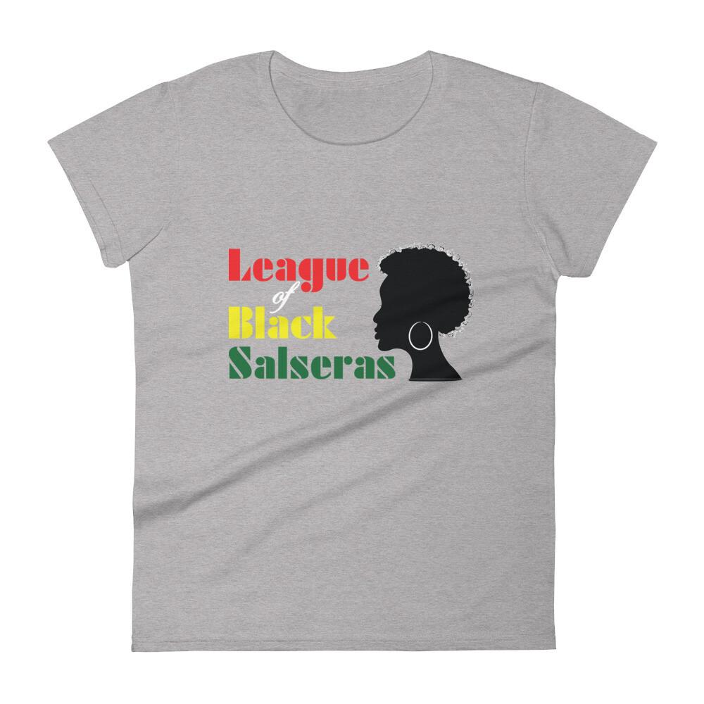 """""""League of Black Salseras"""" (Woman, Afro) - Women's short sleeve t-shirt"""