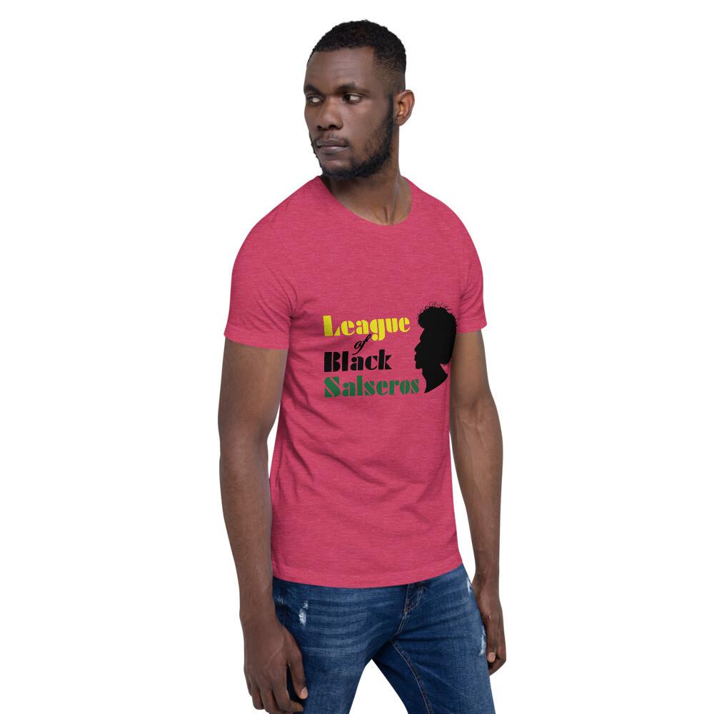 League of Black Salseros (Man, Afro, Red) - Short-Sleeve Unisex T-Shirt