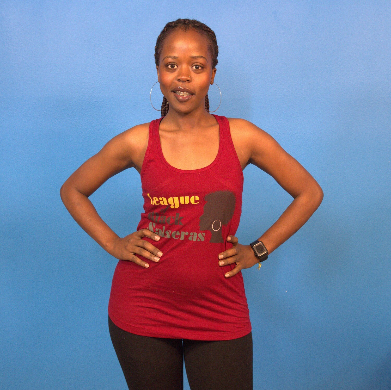 League of Black Salseras (Woman, Afro, Red) - Women's Racerback Tank