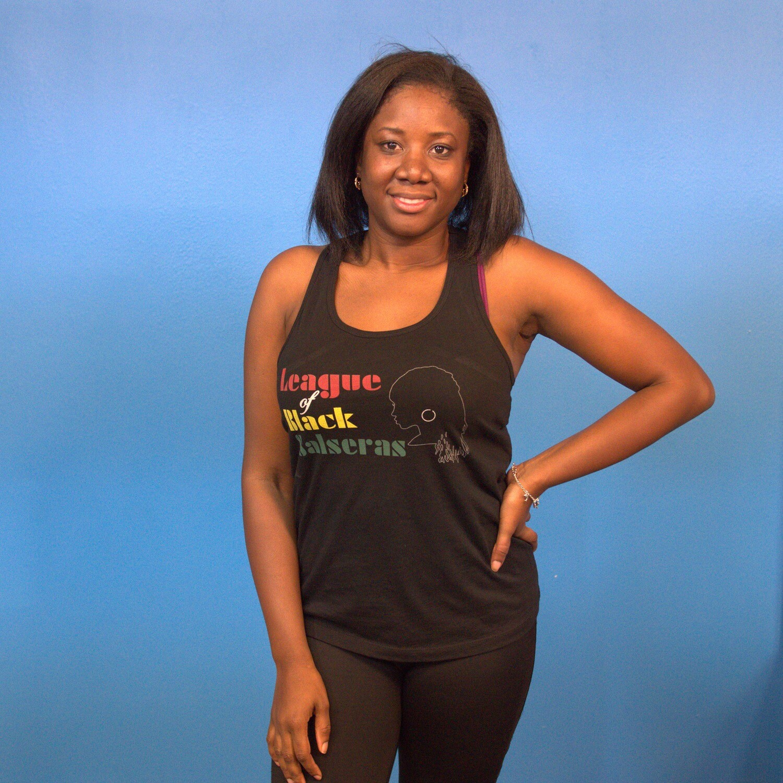 League of Black Salseras (Woman, Locks, Black) - Women's Racerback Tank