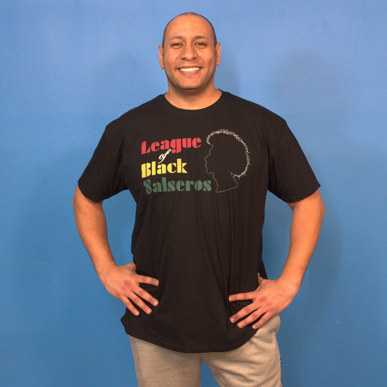 League of Black Salseros (Man, Afro, Black) -Short-Sleeve Unisex T-Shirt