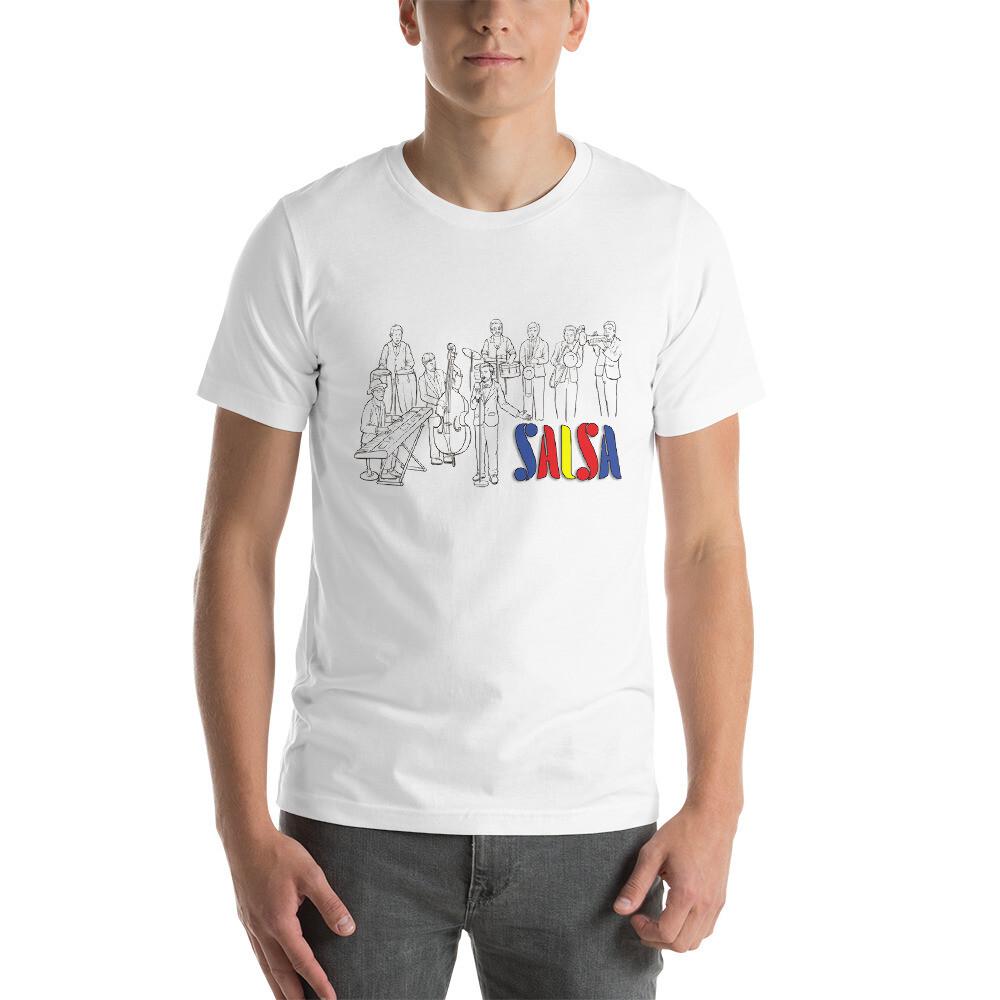 Salsa! (Colorful, Black Line Art) - Short-Sleeve Unisex T-Shirt