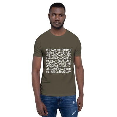 Mo'Ritmo Repeat (White Text) - Short-Sleeve Unisex T-Shirt
