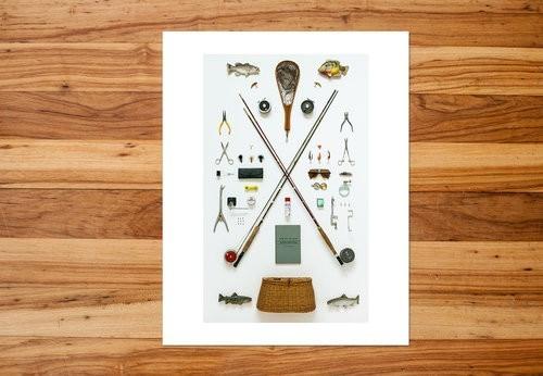 "Field Guide Designs - 11""x14"" Fly Fisherman Art Print Framed"