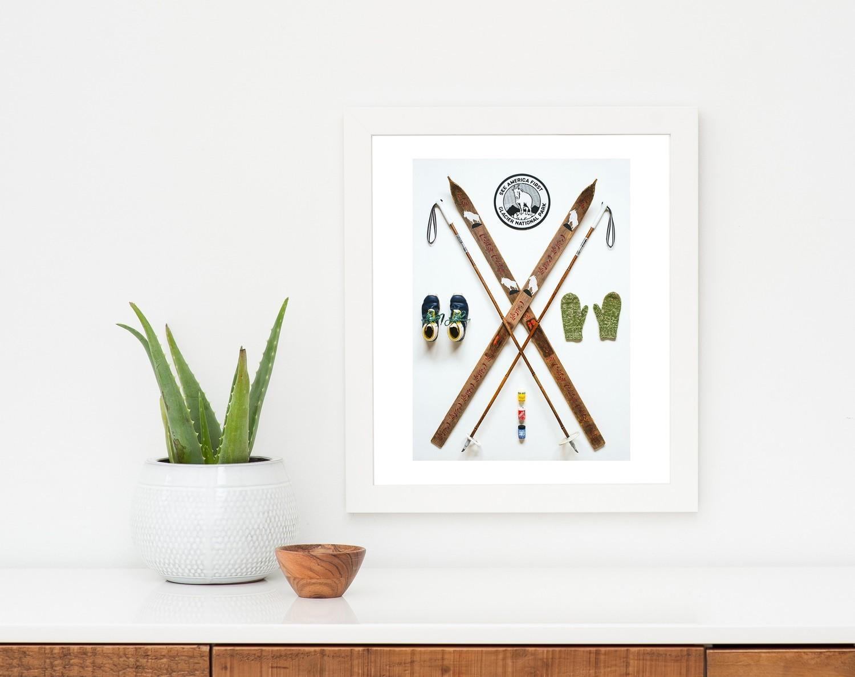 "Field Guide Designs - 11""x14"" Nordic Skier Art Print Framed"