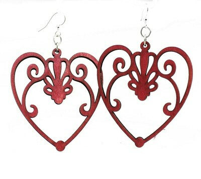 Green Tree Jewelry - Scroll Heart Earrings