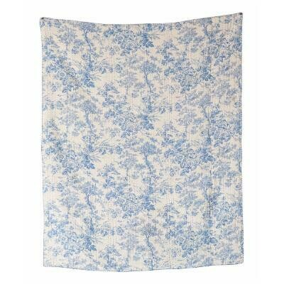 Chambray Kantha Stitched Throw, Blue