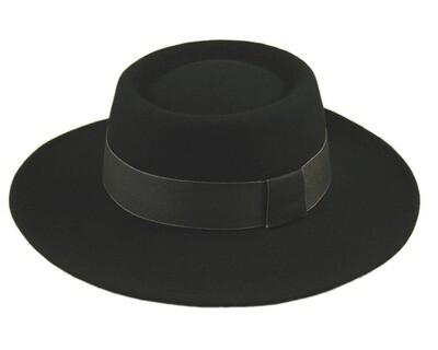 Black Wool Felt Gambler Hat