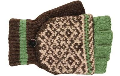 Green Mitten and fingerless Gloves
