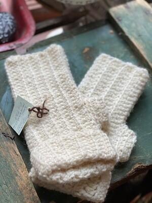 Wool Fingerless Gloves - White Handmade