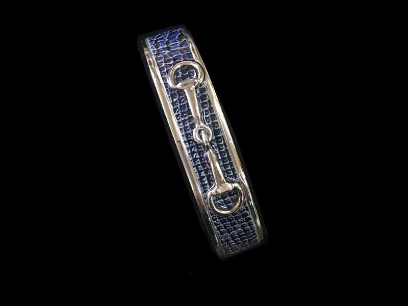 Silver Snake Blue Leather Bit