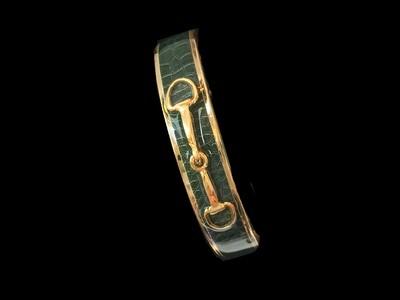 Gold Hunter Green Snakeskin Bit