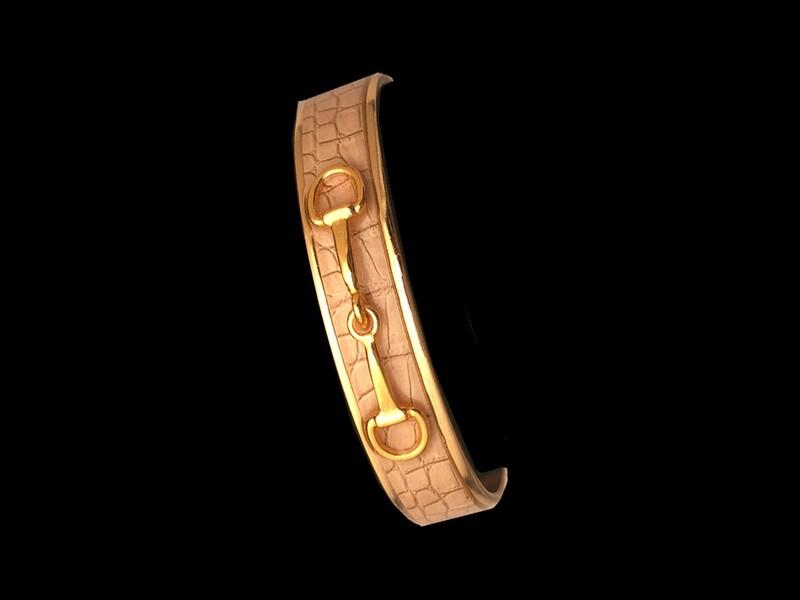 Gold Beige Croc Skin Bit