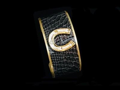 Gold Wide BK Leather Crystal H Shoe